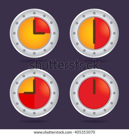 Collection of colorful time chronograph icon, vector illustration