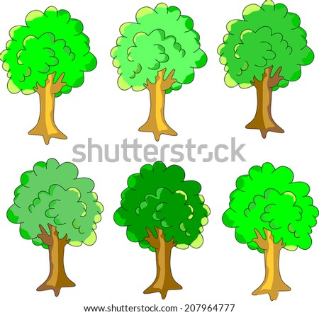 collection of colorful trees. Set of retro silhouette trees. Vector. Trees simple green.