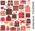 Collection of colorful Valentine/birthday/Christmas presents isolated on white. Raster version available in my portfolio - stock photo