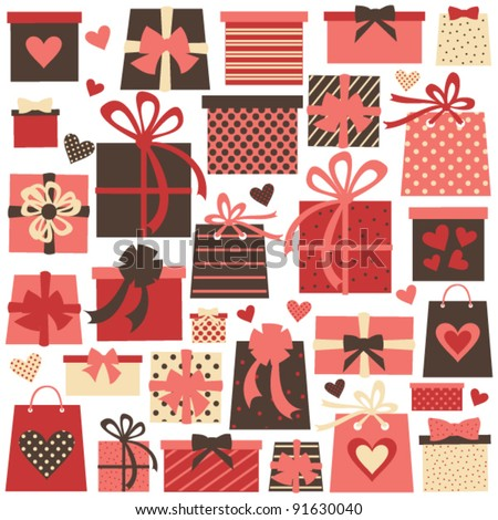 Collection of colorful Valentine/birthday/Christmas presents isolated on white. Raster version available in my portfolio - stock vector