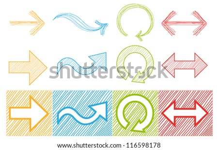 Collection of Colorful Vector Arrows and Simple Buttons - stock vector