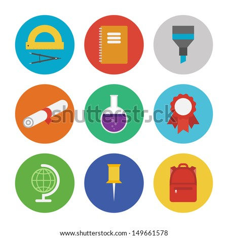 Collection of colorful vector icons in modern flat design style on education and learning theme. Isolated on white background.  - stock vector