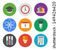 Collection of colorful vector icons in modern flat design style on knowledge and education theme.  Isolated on white background.  - stock vector