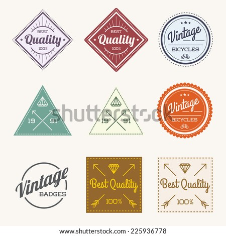 Collection of Colorful Vector Vintage Retro Label Set of 9  - stock vector