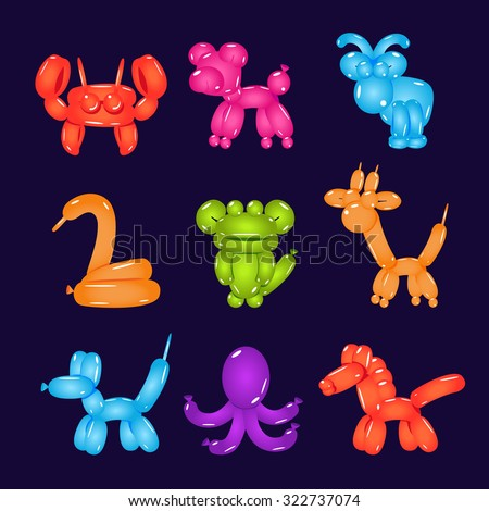 Collection of colourful and bright animal-shaped balloons set of vector illustrations - stock vector
