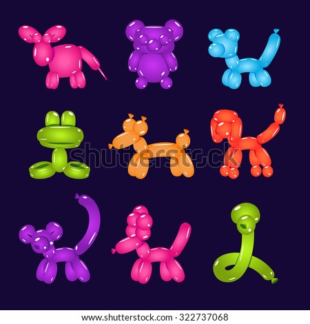 Collection of colourful animal-shaped balloons set of vector illustrations - stock vector