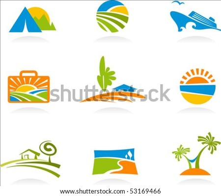 Collection of colourful tourism and vacation icons - stock vector