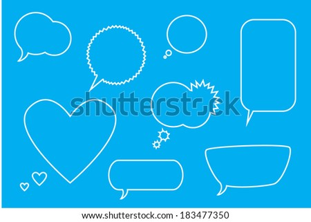 Collection of comic style white speech bubbles. - stock vector
