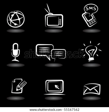 Collection of  communication icons on black background - stock vector