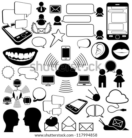 Collection of communications icons - stock vector