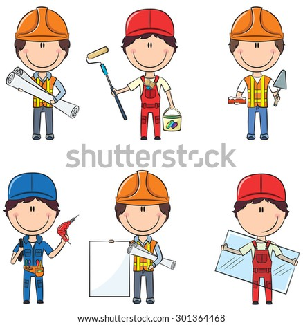 Collection of construction workers: architect, painter, bricklayer, electrician, glazier - stock vector