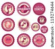 Collection of cosmetics labels and badges - stock photo