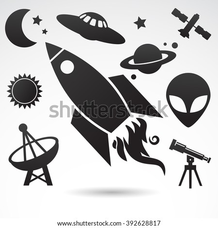 Collection of cosmos, universe icons isolated on white background. Vector art.