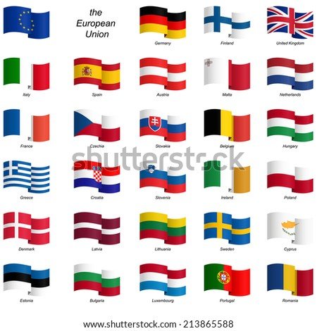 collection of country flags European Union vector - stock vector