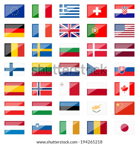 Collection of Country Flags with Reflection - stock vector