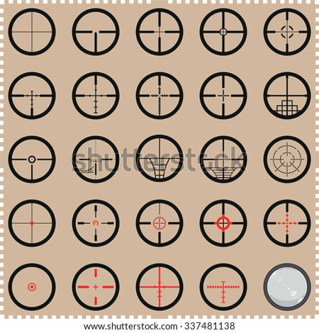 Collection of crosshairs - optical instrument or gun sight - stock vector