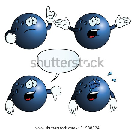 Collection of crying bowling balls with various gestures. - stock vector