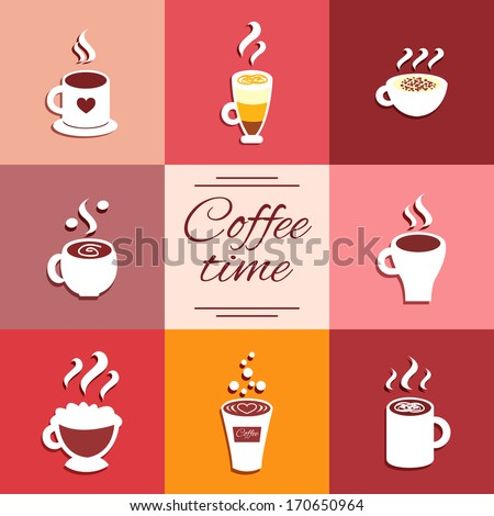 Collection of cup icons with hot coffee drinks espresso latte and cappuccino vector illustration - stock vector