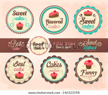 Collection of cupcake labels - stock vector