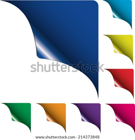 collection of curled corner leafes vector eps leafes signs  - stock vector
