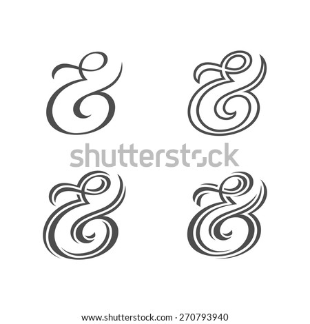 Collection of custom decoration ampersands for wedding letterpress invitation. Polished hand drawn type. Vector illustration