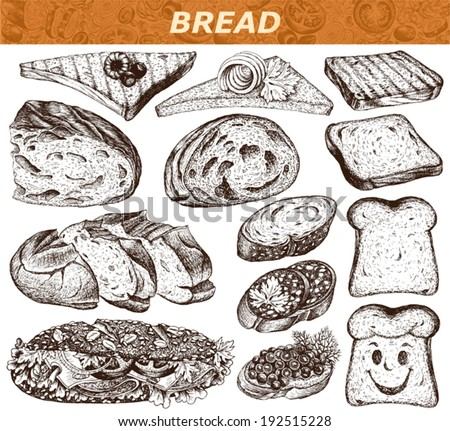 Collection of cut pieces of bread and sandwiches isolated on white background , hand-drawn illustration. - stock vector
