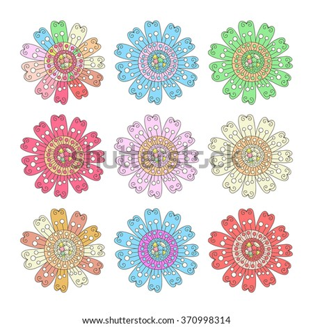 Collection of 9 cute abstract flowers isolated on white. Abstract doodle flowers.