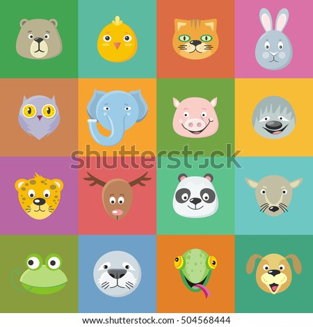 Collection of cute animal faces animal head icon set cartoon masks for masquerade