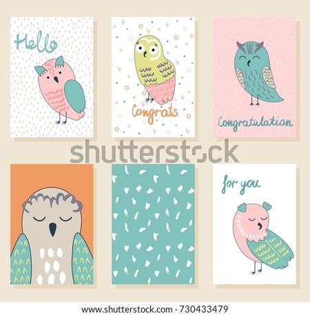 Collection cute artistic cards kids funny stock vector 730433479 collection of cute artistic cards for kids funny owls in vector greeting card for bookmarktalkfo Image collections