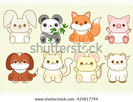 Collection of cute baby animals in kawaii style. Cat, dog, pig, rabbit, mouse, fox, panda, sheep. On retro background with dots pattern and lace - stock vector