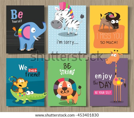 Collection of cute cards for different occasions with cute cartoon animals - stock vector