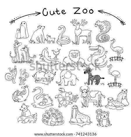 Collection Of Cute Cartoon Doodle Animals And Birds The World Lined For Coloring Pages