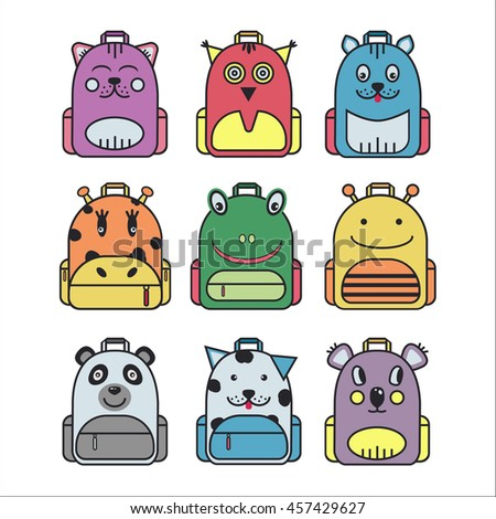 Collection of cute children school backpack in original animal design. Set of street, hipster knapsack icons. Kid backpack icons in trendy flat line style. Back to school vector illustration.