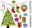 Collection of Cute Christmas Items - stock vector