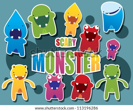 Collection of cute colorful monsters, vector