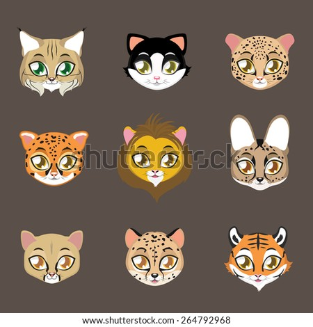 Collection of cute feline portraits - stock vector