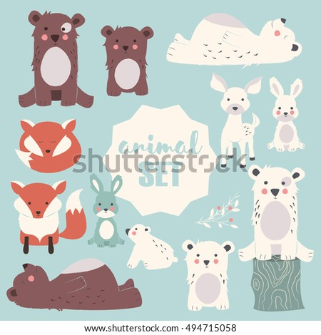Collection of cute forest and polar animals with baby cubs, including bear, fox, fawn and rabbit, vector illustration