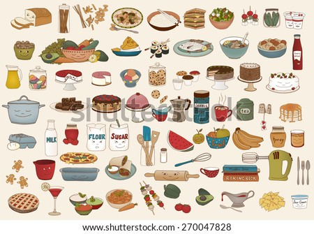 Collection of cute hand drawn food illustrations - stock vector