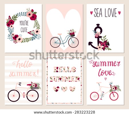 Collection of 6 cute hello summer card templates. Wedding, marriage, save the date, baby shower, bridal, birthday, Valentine's day. Stylish simple design. Vector illustration. - stock vector