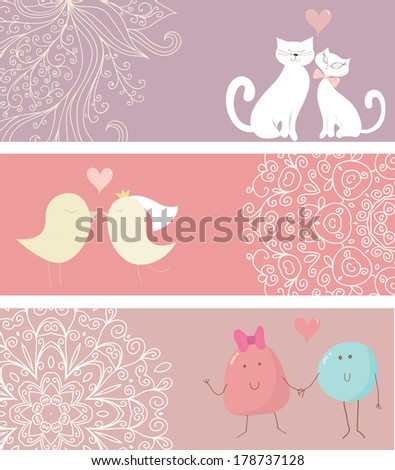 Collection of cute love cards. Cats, birds and funny creatures in love. Can be used for celebration postcard, wedding invitation, scrap book.