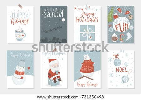 Collection of 8 cute Merry Christmas and Happy New Year ready-to-use gift cards. Set of eight printable hand drawn holiday posters templates. Vector seasonal postcard design.