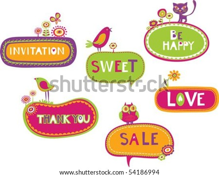 Collection of cute retro frames with animal, birds and flowers - stock vector