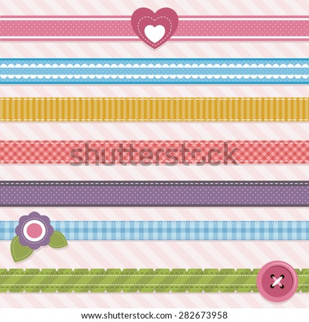 Collection of cute ribbons - stock vector