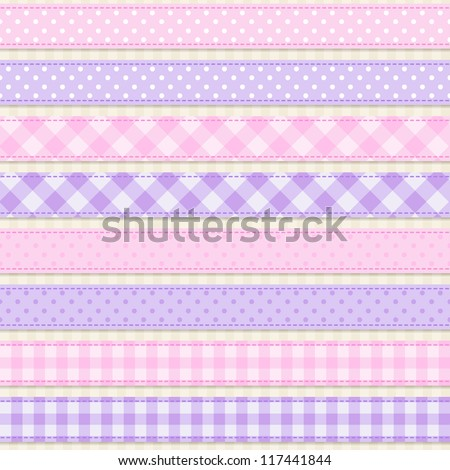 Collection of cute seamless ribbons - stock vector