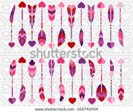 Collection of Cute Valentine's Day or Wedding Themed Feather Arrows - stock vector