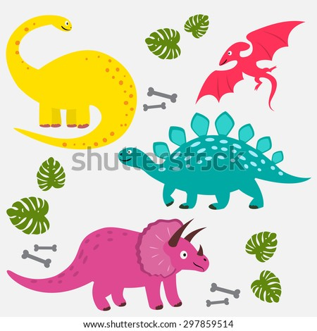 Collection of cute vector dinosaurs (isolated)