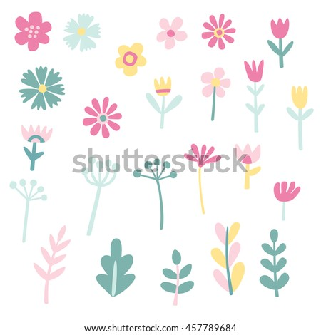Collection of cute vector flowers and plants