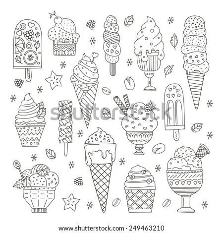 Collection of cute vector hand drawn cartoon ice cream. Cones and ice creams with different flavours made in doodle style.