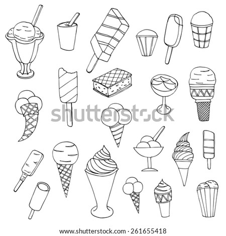 Collection of cute vector hand drawn cartoon ice cream. Cones and ice creams with different flavours made in doodle style. - stock vector