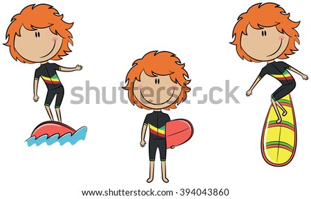 Collection of cute vector surfer girls isolated on white - stock vector